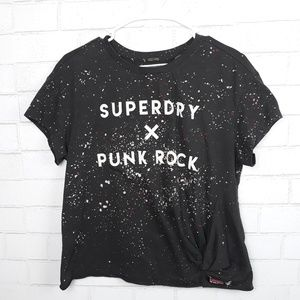 Superdry Paint Splattered Front Knot Cropped Shirt